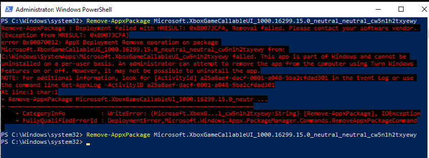 удаление встроенного приложения windows 10 без ошибки