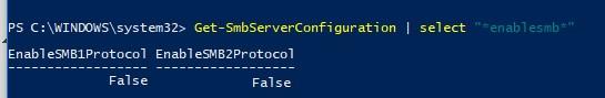 Get-SmbServerConfiguration проверить установленные версии smb в windows 10