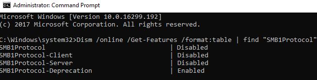 Dism узнать, включен ли smb1 протокол