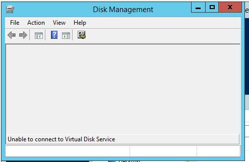 Невозможно подключиться к службе виртуальных дисков