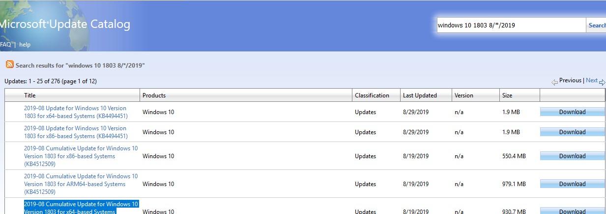 скачать последние обновления windows из microsoft update catalog