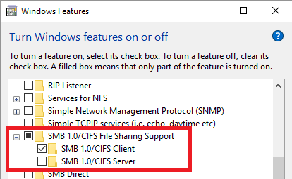 SMB 1.0 - CIFS клиент включен в Windows 10