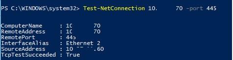 test-net-connection проверить доступность компьютера по SMB