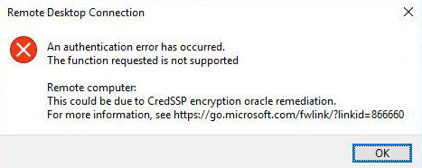 windows 10 rdp ошибка подключения CredSSP encryption oracle remediation