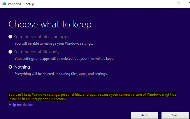 windows 10 upgrade to 1803 - current version of Windows might be installed in a unsupported directory