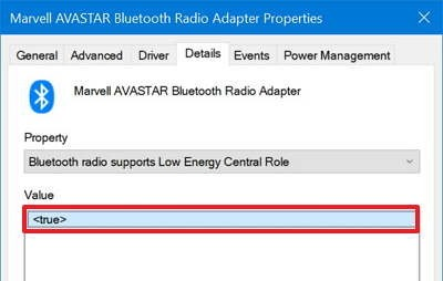 Поддержка режима Bluetooth radio supports Low Energy Central Role