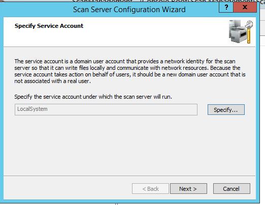 аккаунт, из-под которого работает сервер сканирования