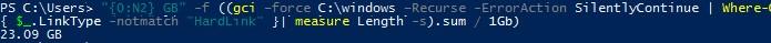 размер каталога windows без учетка жестких ссылок в winsxs
