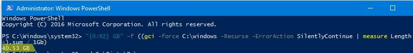 узнать размер папки windows с помощью powershell