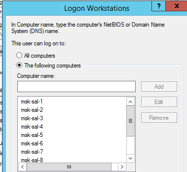 logon workstations