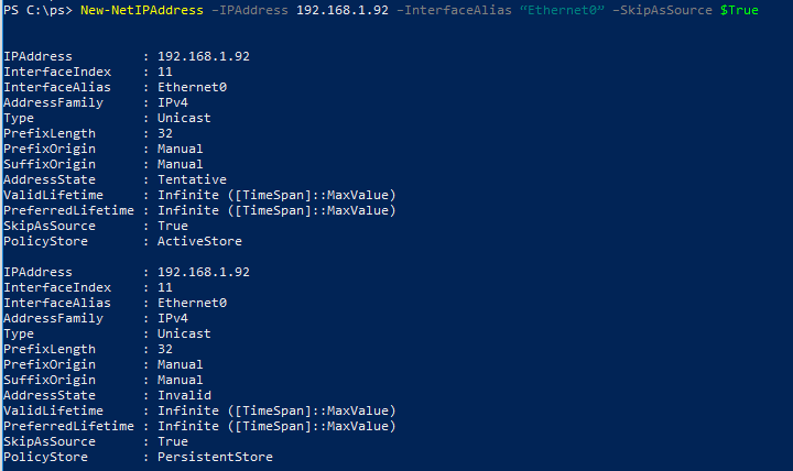 присваиваем интерфейсу второй ip адрес с помощью комнадлета New-NetIPAddress