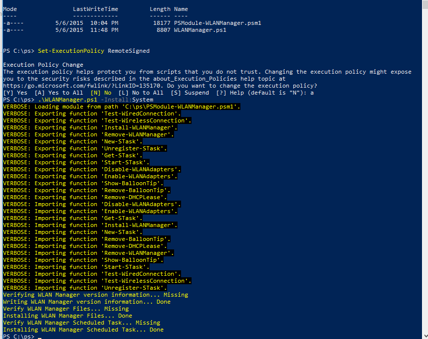 WLANManager скрипт Powershell
