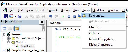 проект vba Tools -> References