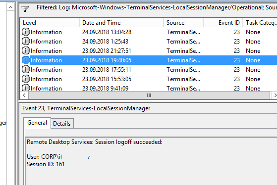Remote Desktop Services: Session logoff succeeded