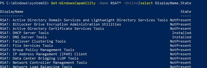Get-WindowsCapability вывести список установленных компонентов rsat с помощью powershell