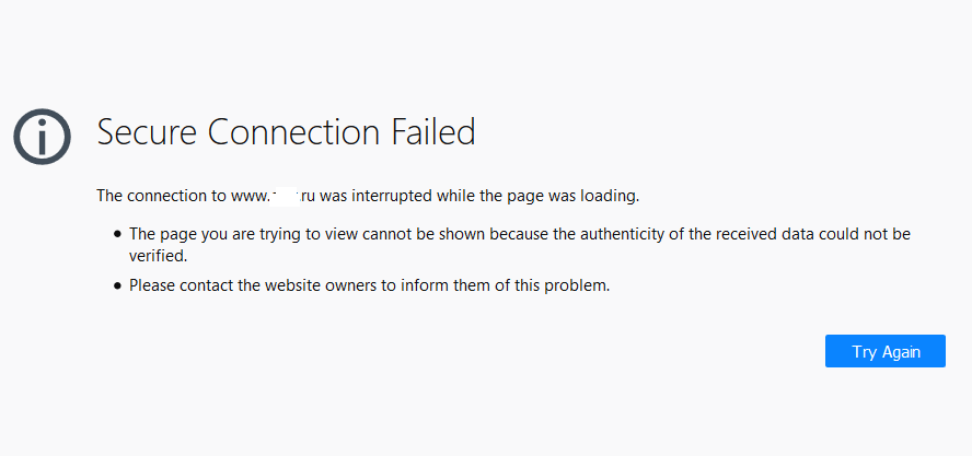 firefox Secure Connection Failed The connection to www.site.ru was interrupted while the page was loading