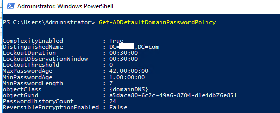 Get-ADDefaultDomainPasswordPolicy