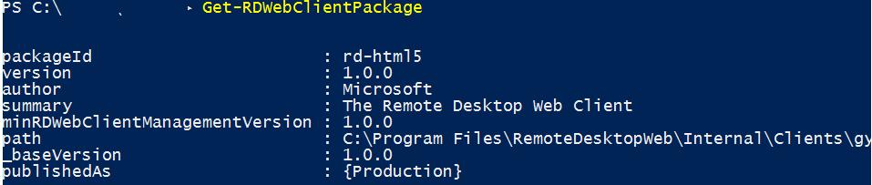 Get-RDWebClientPackage