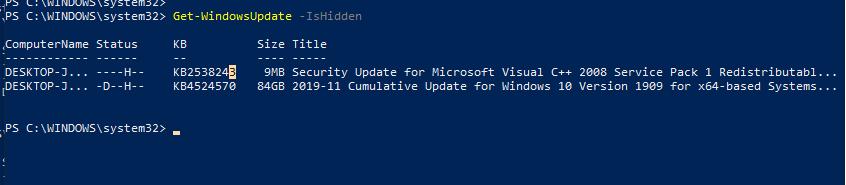 Get-WindowsUpdate –IsHidden отобразить скрытые обновления windows