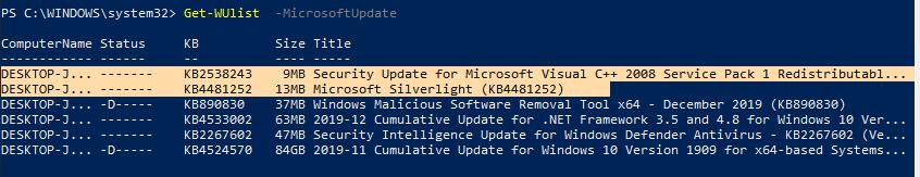 Get-WUlist получить обновления из каталого Microsoft, а не Windows