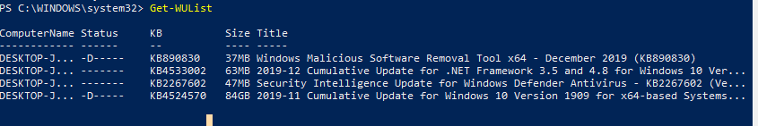 Get-WUList - получить список требуемых обновлений из powershell