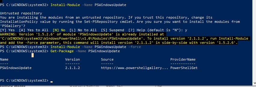 Install-Module -Name PSWindowsUpdate устаовка модуля из галереи