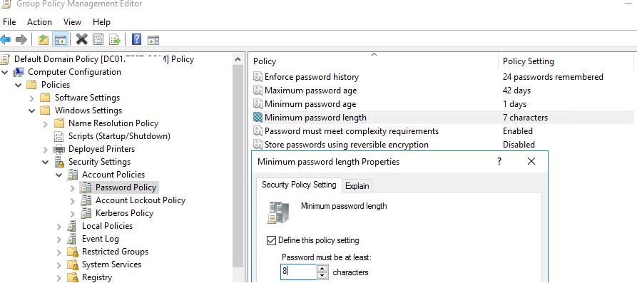 изменить настройки политики паролей  в домене active directory из консоли управления gpo