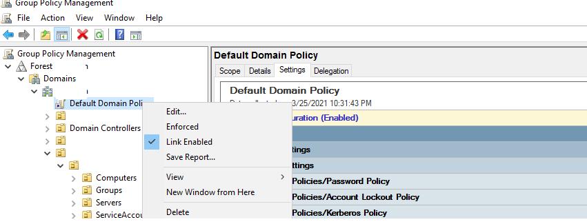 политика паролей пользователей active directory в Default Domain Policy