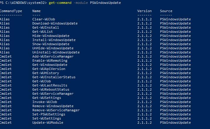 список командлетов модуля pswindowupdate