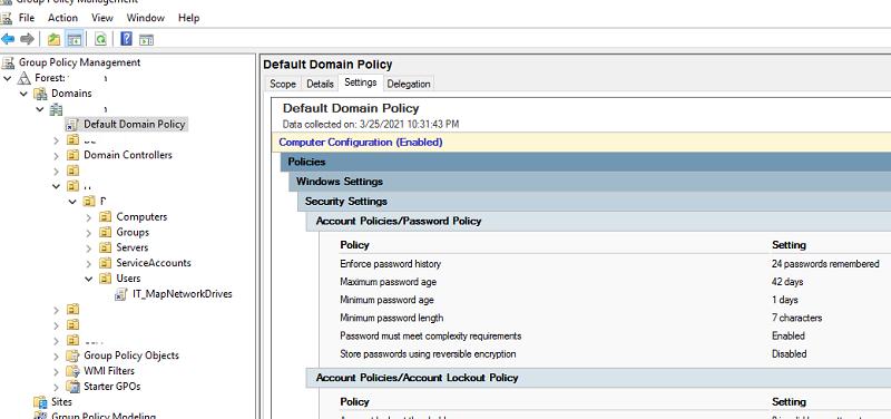 вывести настройки парольной политики в домене в консоли GPO