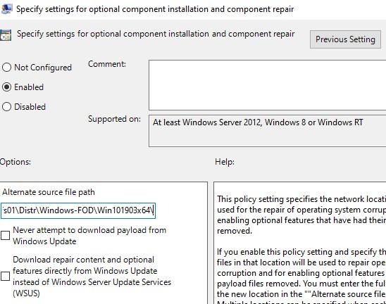 windows 10 1903: настройки features on demand для установки RSAT через GPO