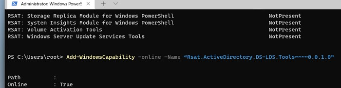 windows 11: установить Remote Server Administration Tools с помощью консоли powershell