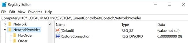 RestoreConnection отключить уведомление Не удалось восстановить подключения ко всем сетевым дискам в Windows 10