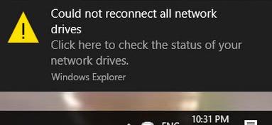 Не удалось восстановить подключения ко всем сетевым дискам Windows 10