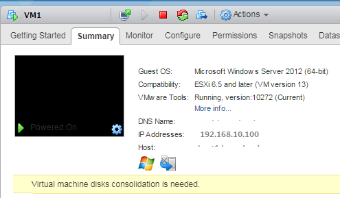 Ошибка vmware esxi - Virtual Machine disks consolidation is needed'
