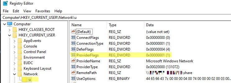 включить параметр реестра providerflags для корректного подключения сетевых дисков после обновления до windows 10 2004