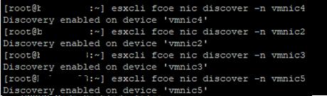 esxcli fcoe nic discover -n vmnic4 включить обнаружение