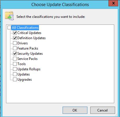 одобрение обновлений безопасности Critical Updates, Security Updates, Definition Updates