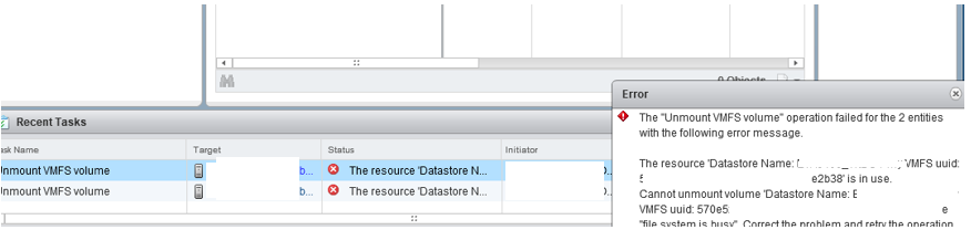 The resource Datastore Name is in use