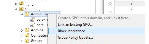 групповые политики - заблокировать наследование Block inheritance