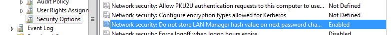 Network security: Do mot store Lan Manager hash value on next password change