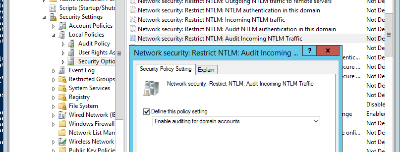 Network Security: Restrict NTLM: Audit Incoming NTLM Traffic