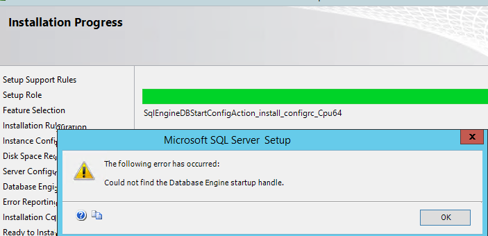 ошибка Could not find the Database Engine startup handle при установке SQL Server 2014