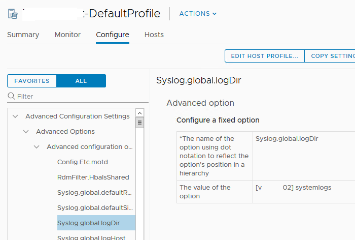 vmware host profile Syslog.global.logDir