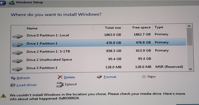 0x80300024: couldn't install Windows 10 in the location, check media drive.