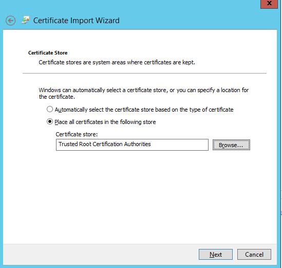 импорт сертификата в доверенные корневые