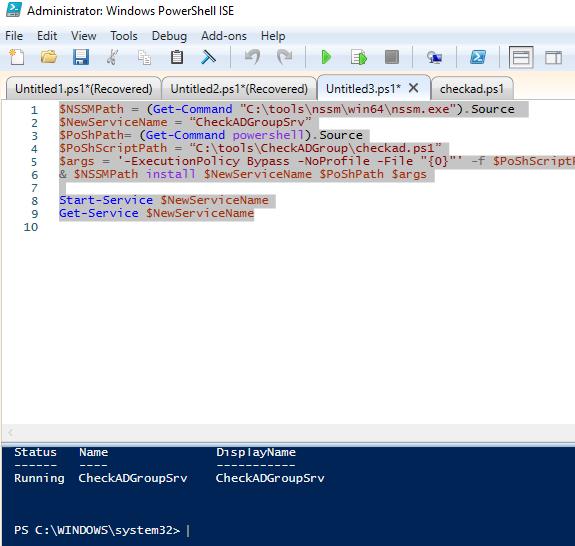 NSSM - создать службу Windows из скрипта PowerShell