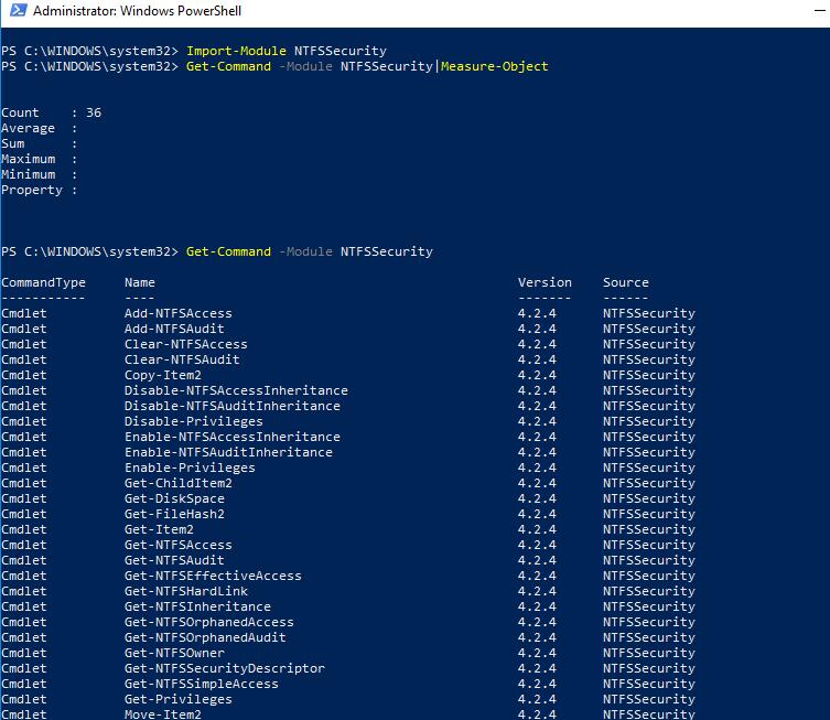 NTFSSecurity модуль powershell для управления правами на файлы и папки