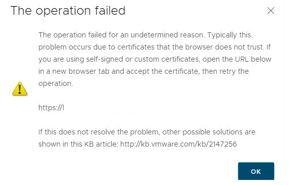 The operation failed for an undetermined reason. ypically this problem occurs due to certificates that the browser does not trust