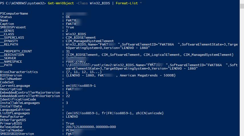 Get-WmiObject -Class Win32_BIOS